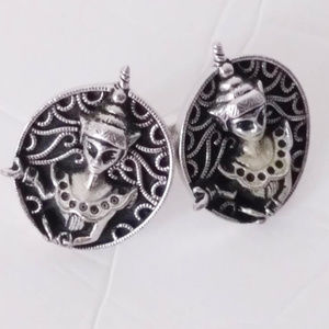 Vintage Silver Tone DEITY CUFF LINKS Unisex Large